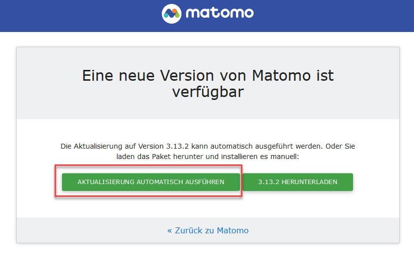 Matomo Update Schritt 3